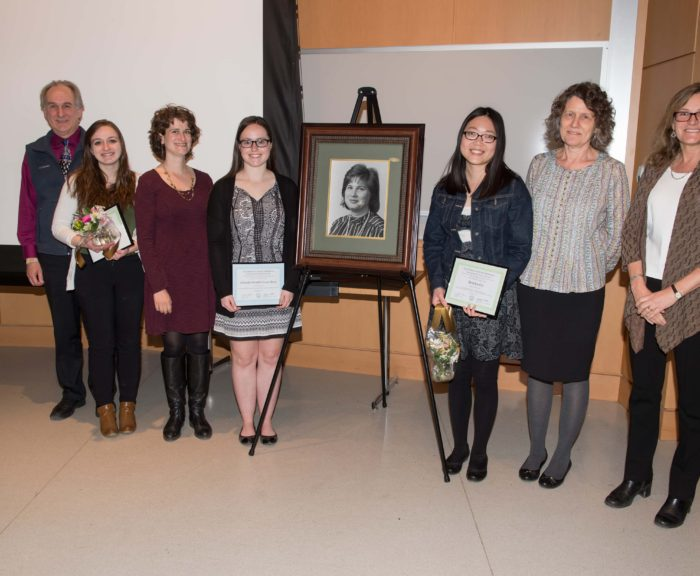 2017 Norma Slepecky Award Winners & their Advisors: L-R Jacques Lewalle, Genevieve Stark, Tara Kahan, Albanie Hendrickson-Stives, Anniya Gu, Elinor Maine, and Award Committee Chair, Linda Ivany.