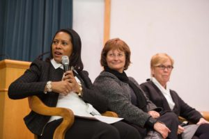 Associate Provost LaVonda Reed (speaking) with Deans Karin Ruhlandt and Liz Liddy