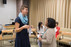 2015 Caitlin McDonough Shoba Bhatia talking at WiSE FPP Orientation