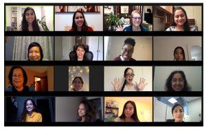 Screenshot of WWoCS participants on Zoom - smiling
